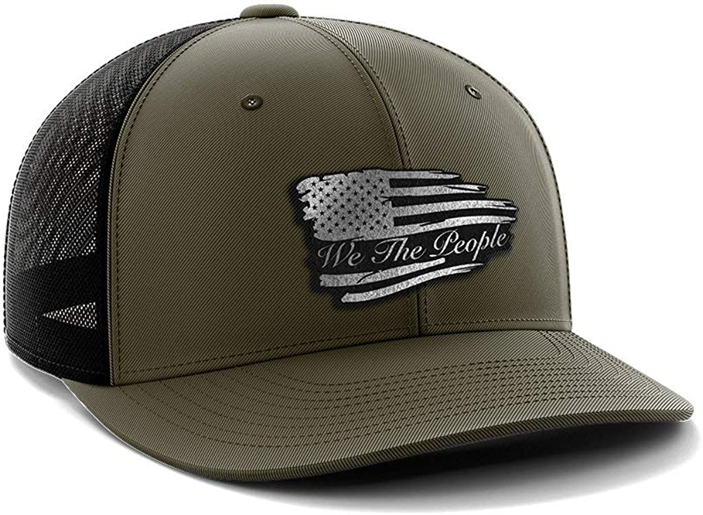Torn We The People Black Leather Patch Hat