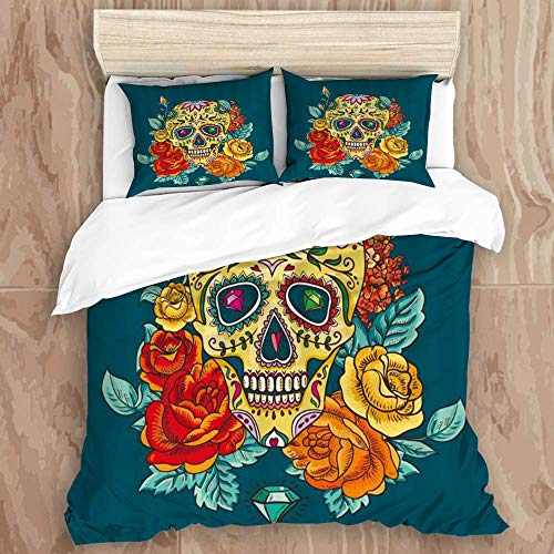 SUPERQIAO Easy Care 3 Pcs Duvet Cover Set,Gold Sugar Skull Flower Rose Gothic Classic Cool Fun Day of Dead Skeletons Vintage Rustic Unique Halloween,Stylish Luxury Microfiber Quilt Cover