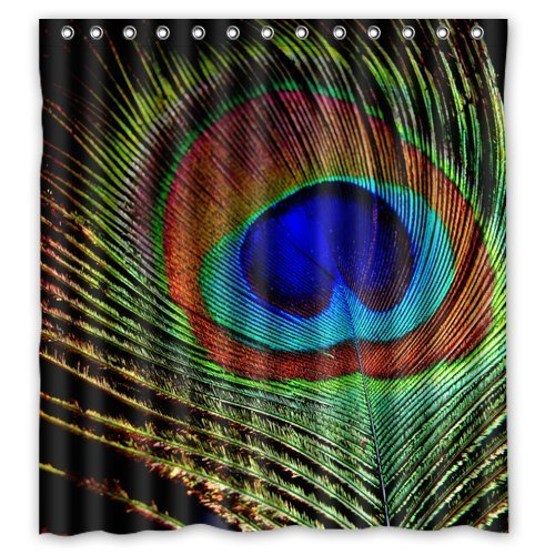 Fashion Custom Beautiful Peacock Feather Pattern Waterproof Polyester Fabric Shower Curtain 66 x 72