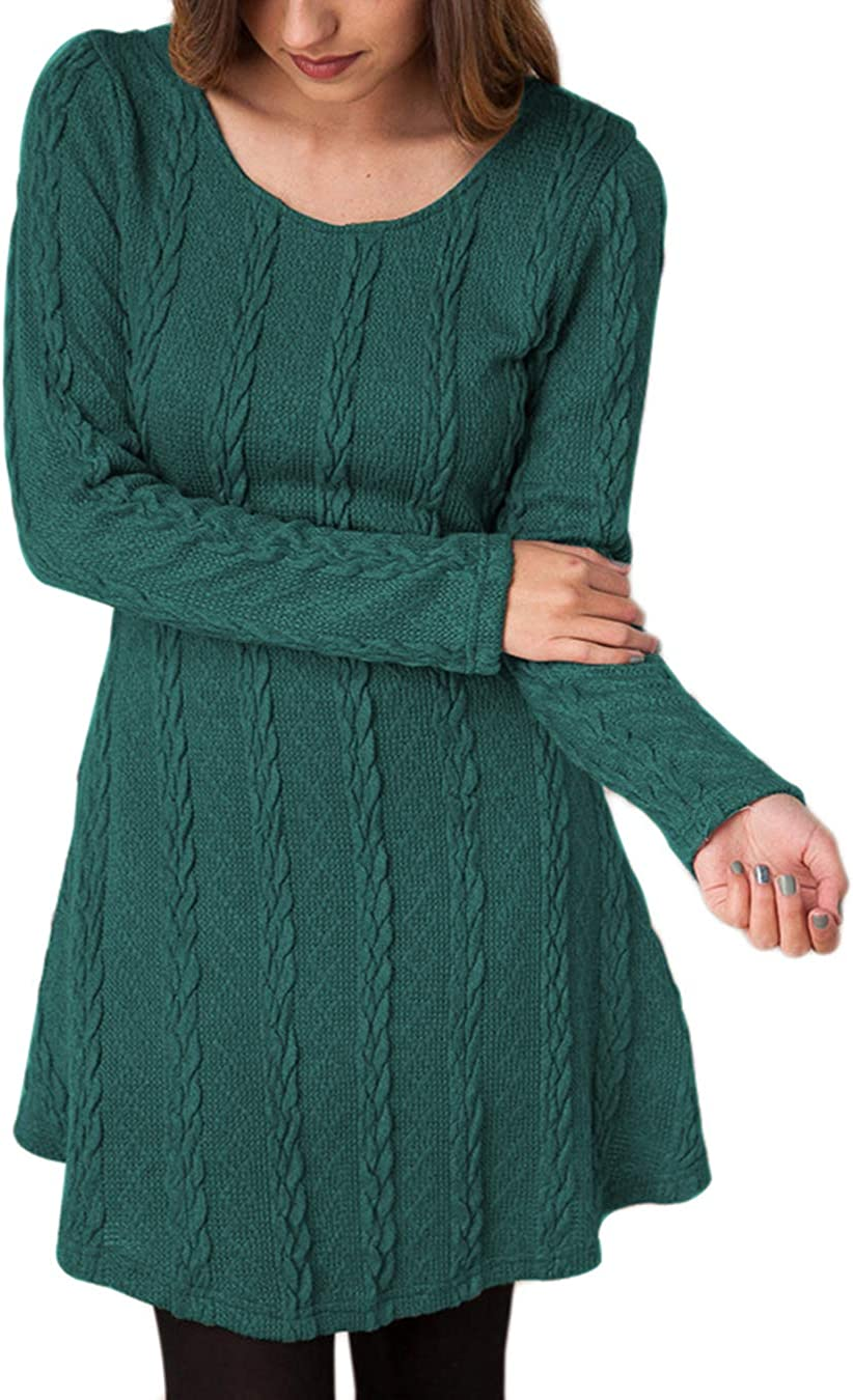 EFOFEI Womens Solid Color Cable Knitted Sweater Dress Crew Neck Long Sleeve Pullover Tops