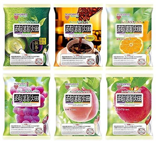 マンナンライフ 蒟蒻畑 6種 抹茶味・コーヒー味・温州みかん味・ぶどう味・白桃味・りんご味(25g×12個) 合計6袋