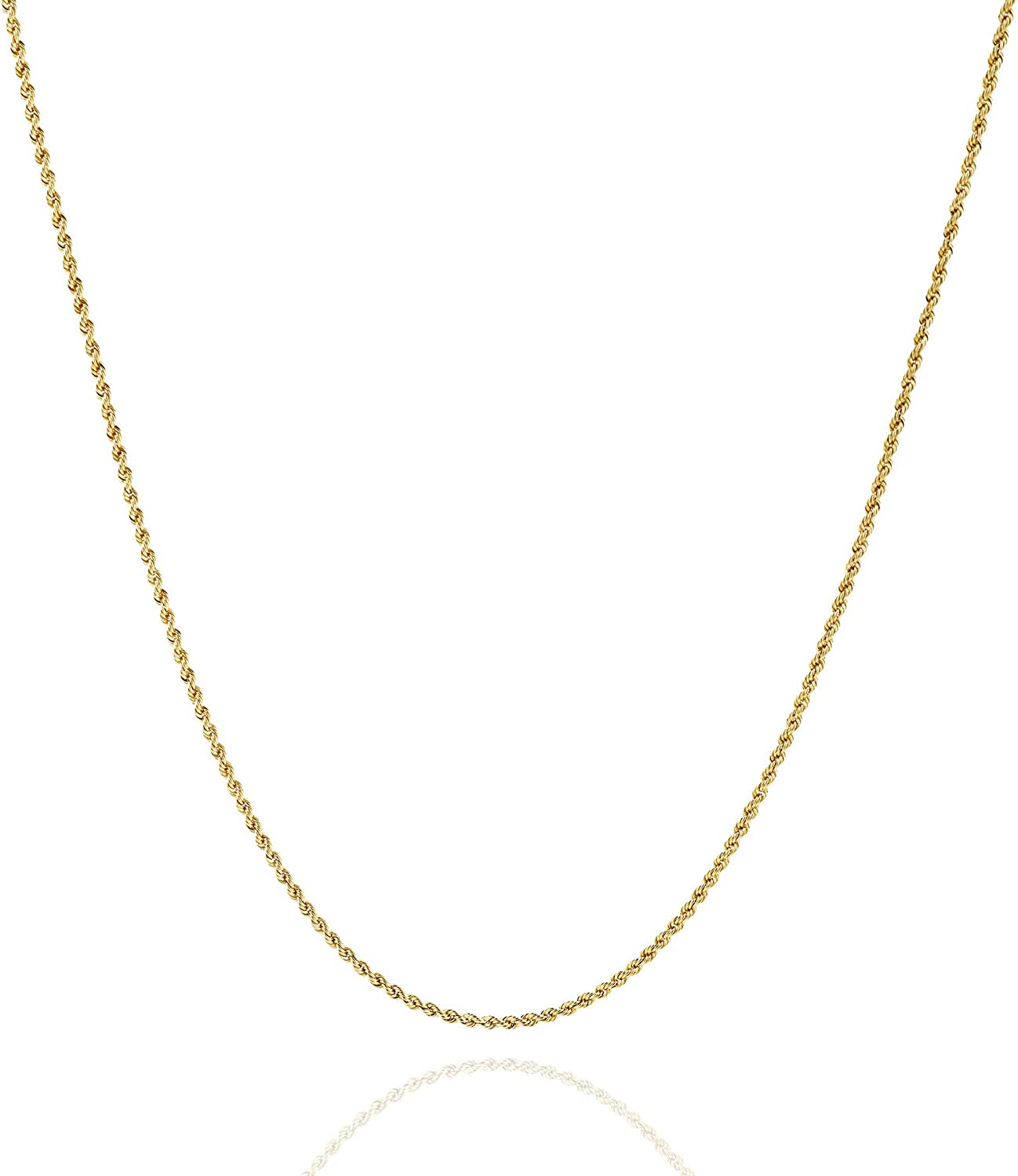 Jewelry Atelier Gold Chain Necklace Collection - 14K Solid Yellow Gold Filled Rope Chain Necklaces for Women and Men with Different Sizes (2.1mm, 2.7mm, or 3.8mm)