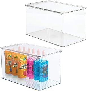 mDesign (lot de 2) boîte de rangement pour articles de bricolage et de couture – boîte en plastique avec couvercle – casie...