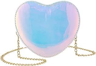 Candice Women Shiny Hologram Holographic Heart Handbag Shoulder Bag Crossbody Bag Purse Evening Bag