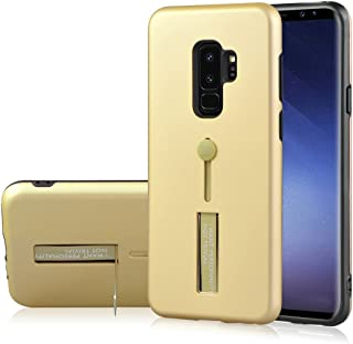 Protective Case Compatible with Samsung Compatible Samsung Galaxy S9+ TPU + PC Frosted Shockproof Protective Back Case with Holder Phone case (Color : Gold)