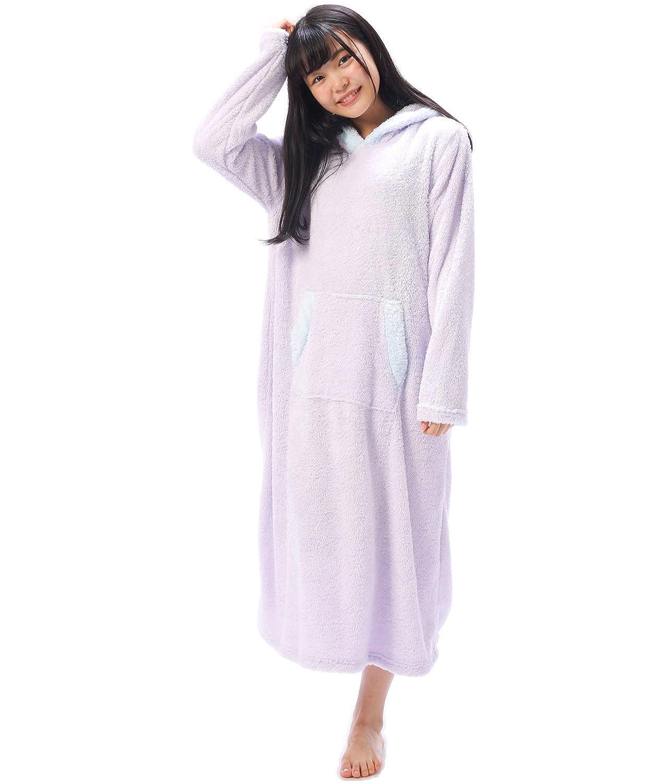 Nishiki(ニシキ) ワンピース パジャマ レディース 長袖 うさ耳 もこもこ かぶり 冬 ルームウエア かわいい 無地 【M~L】