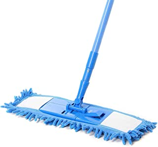 MM RETAILS Microfiber Wet and Flat Microfiber Floor Cleaning with Telescopic Long Handle Dry Mop, Medium, Multicolour