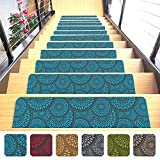 Shape28 Stair Mats Ultra-Thin with Slip-Resistant Rubber Backing 9x26', Blue 14pcs