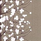 Boston International Ihr Marimekko Cherry Blossom Lunch Paper Napkins, 6.5' x 6.5', Dark Beige