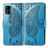 Bravoday Handyhülle für Samsung Galaxy M40S Hülle, Stoßfest PU Leder Tasche Flip Hülle Schutzhülle für Galaxy M40S, mit Kartenfäch und Kickstand, Blau