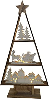 Christmas Wooden LED Lighting Tree with Scene of Santa Claus Driving Sleigh in Natural and White Colour
