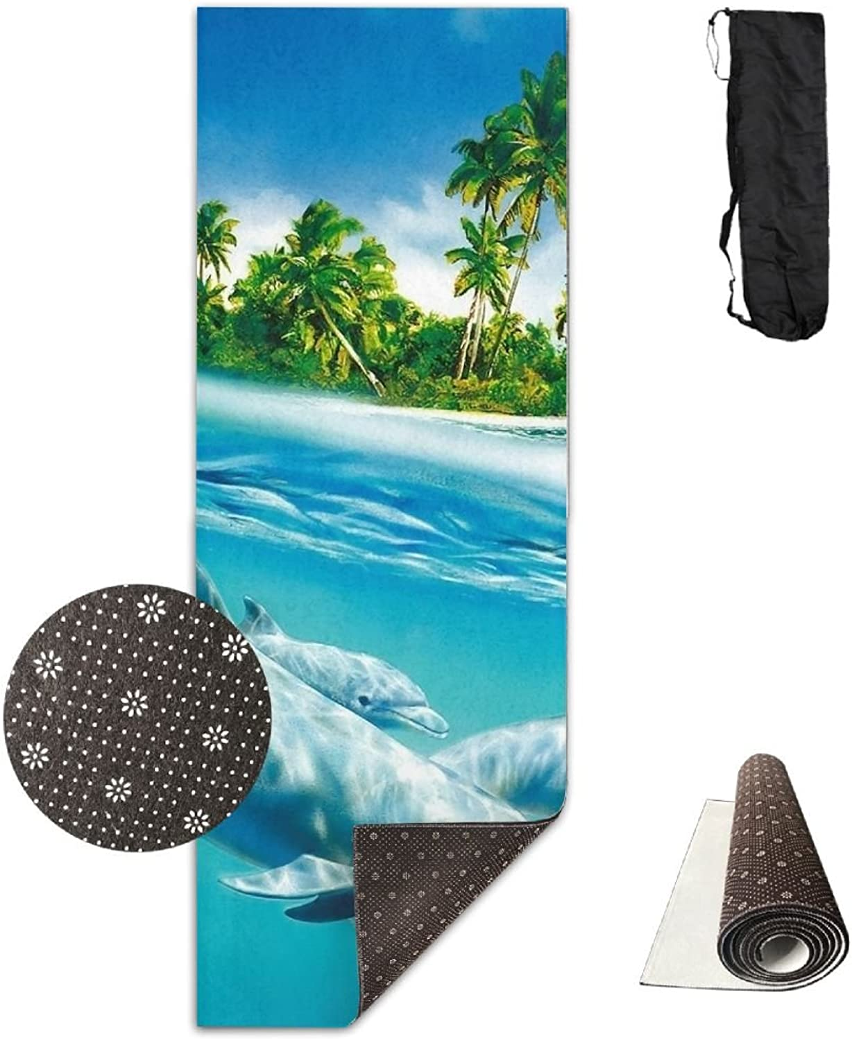 Gym Mat Dolphin Straw With Green Palm Fitness High Density AntiTear Exercise Yoga Mat With Carrying Bag For Exercise,Pilates