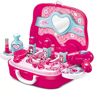 MeeYum Kids Pretend Play Portable Make Up Vanity Princess Dress Up Kit with On The Go Carry Case in Bright Pink Includes P...