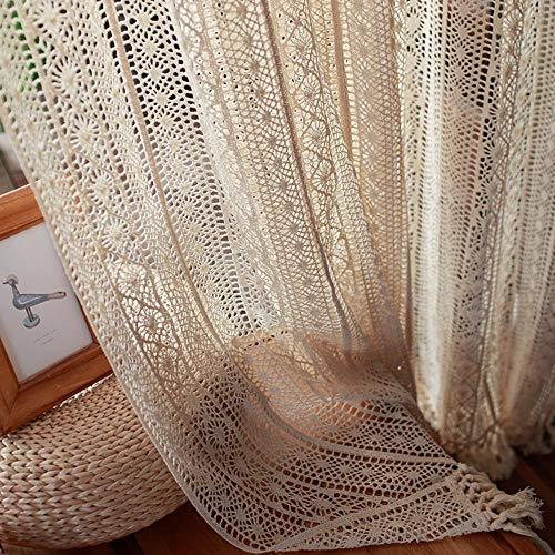 Handmade Crochet Curtains for Living Room Farmhouse Retro Rod Pocket Window Treatment Beige Sheer Curtains for Bedroom Knitted Boho Curtains for Home Decor 1 Panel W59 X L71 Inch