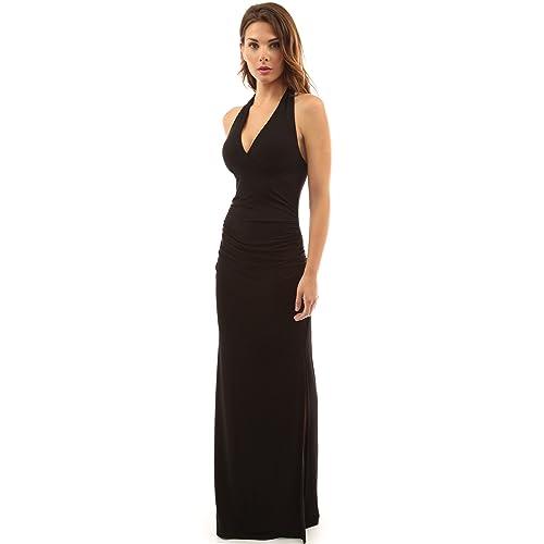 d24eae31a1 PattyBoutik Women's Halter Empire Waist Ruched Side Slit Maxi Dress