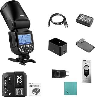 Godox V1C Cámara Flash Speedlite Speedlight Cabeza Redonda inalámbrica 2.4G con Godox X2T-C E-TTL II Disparador de Flash i...