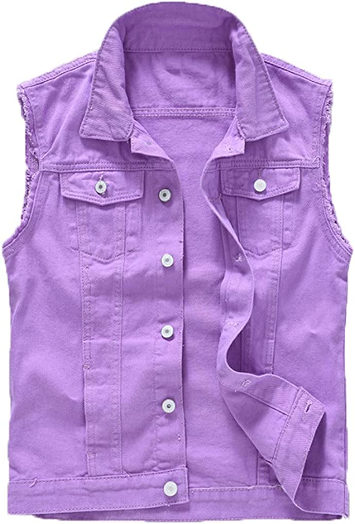 Men's Patches Design Jeans Vest Ripped Denim Waistcoat Men Denim Vest Man Sleeveless Jeans Vest Frayed Purple