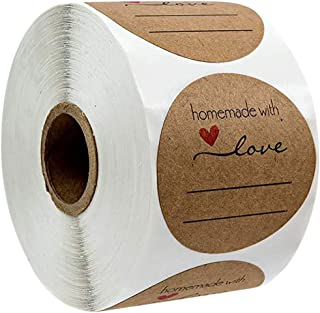 Tinweety Label Sticker, Round 1 Inch Natural Kraft Baked With Love Stickers / 500 Labels Per Roll,Handmade Homemade Love S...