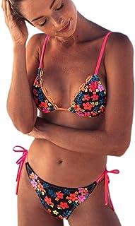 女性 水着 BOBOGOJP 女性 レディース ビキニ 2点セット プッシュアップパッド付き フリル ラブリー 華奢な かわいい 花模様 プリント ブラジャー 水着 ビーチウェア プレゼント 水泳 海水浴 旅行