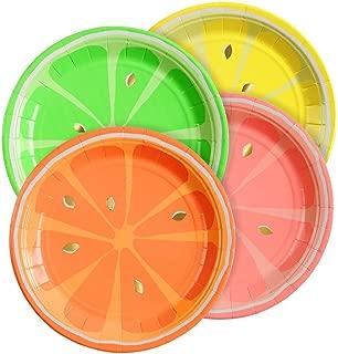 Meri Meri Neon Citrus Small Plates - Pack of 8 in 4 Colors - Neon Print & Gold Foil Detail