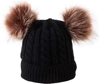 SunFeeling Kids Winter Hat Faux Fur Pom Pom Knitted Beanie Hat Skull Cap for Children Baby Boys Girls Toddler (Ages 0-3)