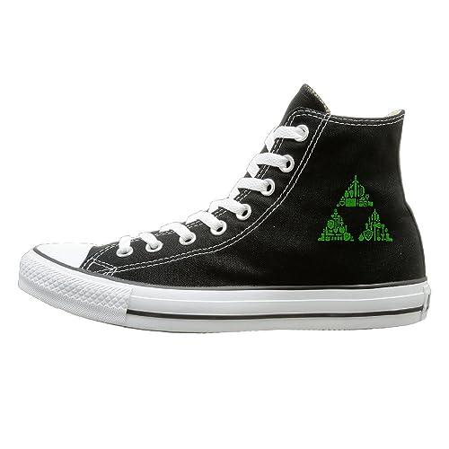 7fd07a0ff1 Laotan Unisex Zelda Triforce Items Boys High Top Sneakers Canvas Shoes Cool  Sport Shoes Dancing Black