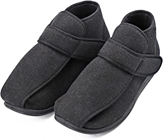 MEJORMEN Men's Diabetic Shoes Edema Slippers with Adjustable Closures Diabetes Swollen Foot Boots Footwear Roomy Orthotic for Elderly Dad Husband