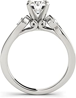1/2 Carat Halo Engagement Diamond Ring Crafted In 10k Solid White Gold