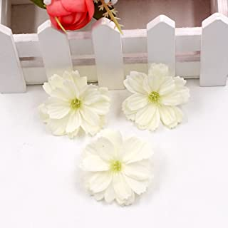 Artificial Flower 50pcs Mini Silk Plum Blossom Wedding Decoration DIY Wreath Clip Clip Accessories Handmade Craft Flower Head (Milk White)
