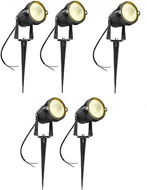 Outdoor Led Garden Light 3 Watt and Spike Warm White Focus { 'IP65 ' Water Resistant & Adjustable 180° } Black Al