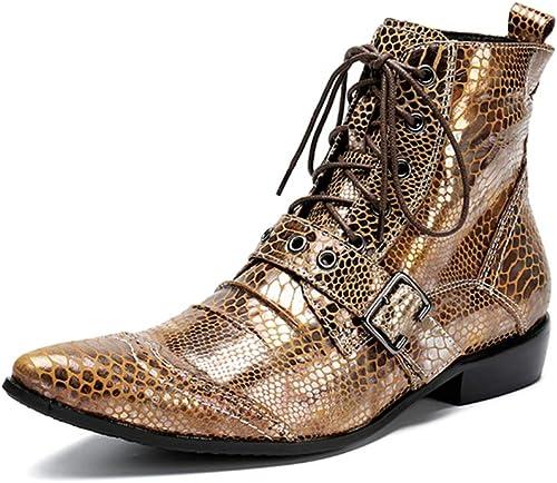 Stiefel de Vaquero herren, Hombre Stiefel de Cuero schuhe de Cordones schuhe de Boda Tobillo Metal Punta Clásico Vestido Noche Partido Gold Größe EU 38-46