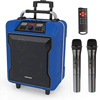 EARISE M60 Portable PA System Work with Bluetooth, DJ Karaoke Amplified Loudspeaker with 2 Wireless Microphone, 10