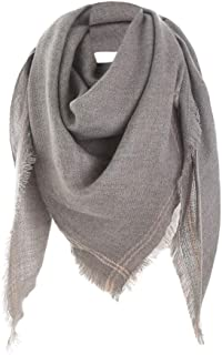 NJTSXLM 1 Pcs Autumn Winter Women Classical Winter Warm Solid Long Wool Shawl Soft Neck Scarf Thicken Scarves Shawls (Color : Gray)