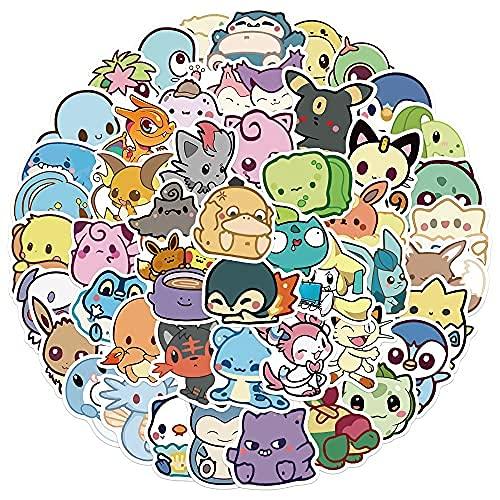 MENGYUEDessin Animé Anime Q Version Pokémon Graffiti Autocollants Décoration Planche À roulettes Valise Tasse d'eau Guitare Étanche Jouet Casque Autocollants 50 Pcs