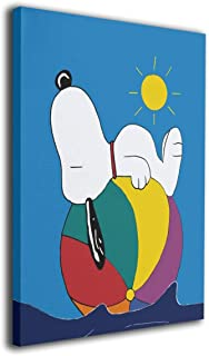 POLKJIH Snoopy Sleeping Fresh Look Oil Paintings Poster Artworks Ready to Hang ForModern Decor Living Room 16x20inch