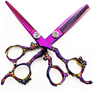 Barber Scissors Professional Hairdressing Scissors Set 440C Stainless Steel Sword-Type Diamond Hair Cutting Scissors 15.2 ...