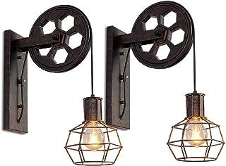 Lot de 2 Appliques Murales Industrielle, iDEGU Éclairage Mural Vintage Poulie Lampe de Mur Luminaire Intérieur pour Bar, C...