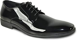 VANGELO Men Dress Shoe Rockefeller Oxford Formal Tuxedo Black Patent - Wide Width Available