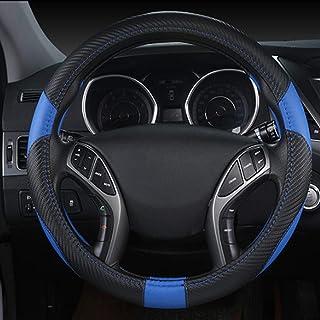 WENKAI Cubierta del Volante del Coche, Transpirable Antideslizante Antideslizante del Tamaño De La Temporada Universal 36cm-45cm para Automóvil/Camioneta/Camión/SUV Negro + Azul