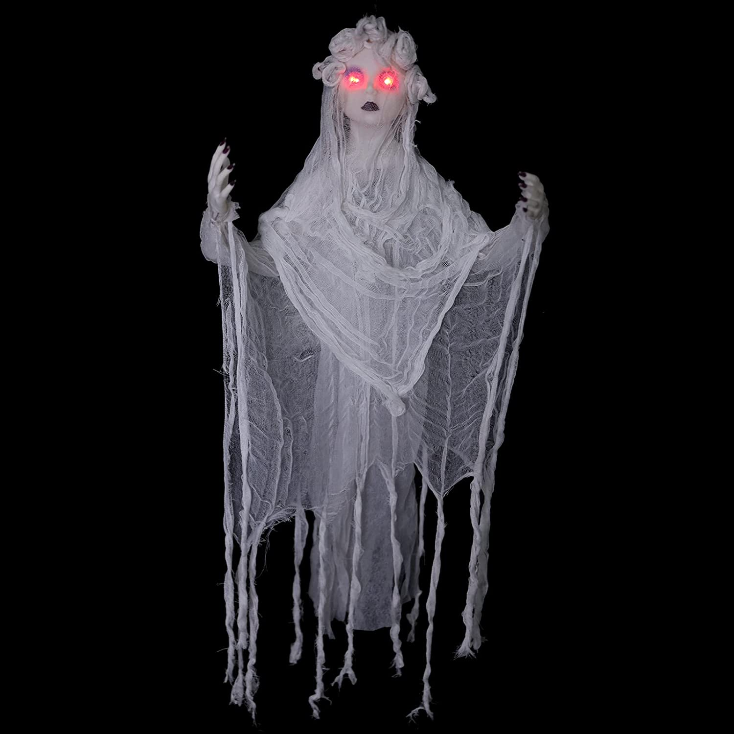 HOLLO STAR Halloween Decor Creepy Animated White Princess, LED Eyes and Frightening Scream, Hanging House Prop Decorations, Indoor/Outdoor Halloween Props for Yard Home Parties - 2.95ft
