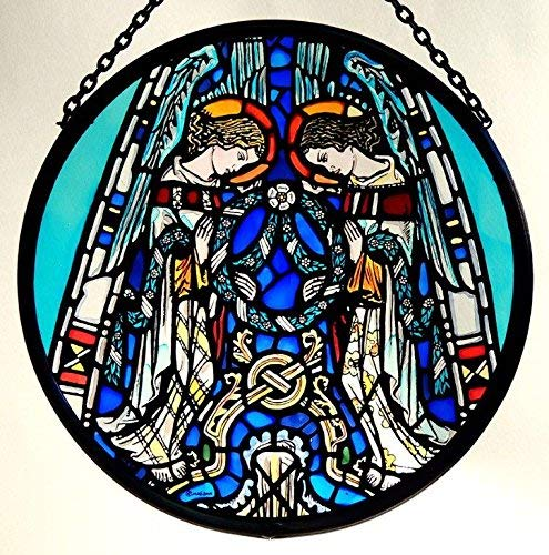 Decorative Hand Painted Stained Glass Window Sun Catcher/Roundel in an Angels Praising Design from Glasgow Cathedral.