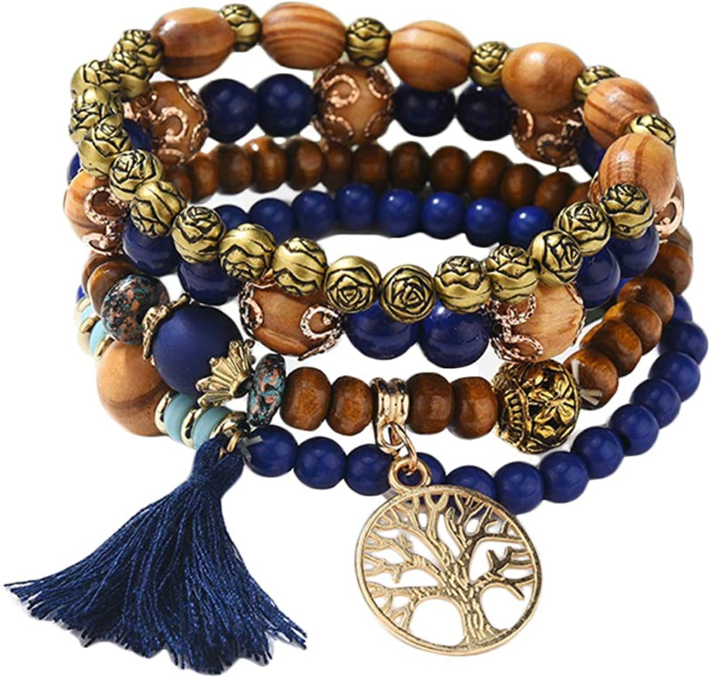 Ai.Moichien Bohemia Beaded Tassels Tree Bracelet Multilayer Turq