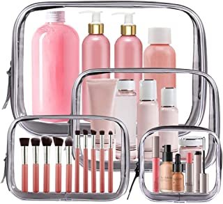 4PCS Clear Makeup Bag, TSA Approved Transparent Travel Toiletry Bag, Waterproof PVC Cosmetic Pouch Organizer, Quart Size Zipper Wash Bags Carry-on Luggage for Women Men Vacation Bathroom