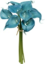 Angel Isabella 10pc Set of Real Touch Calla Lily-Keepsake Artificial Calla Lily with Small Bloom Perfect for Making Bouquet, Boutonniere,Corsage.Quality Keepsake Artificial Flower (Blue Teal)