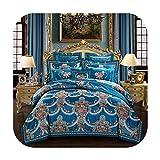 Juego de cama de gran tamaño, color caqui, color azul y azul, algodón, 5, King size 10Pcs