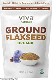Viva Naturals Organic Ground Flax Seed, 30 oz - Specially Cold-milled Using Proprietary Technology for Optimal Smoothness and Freshness