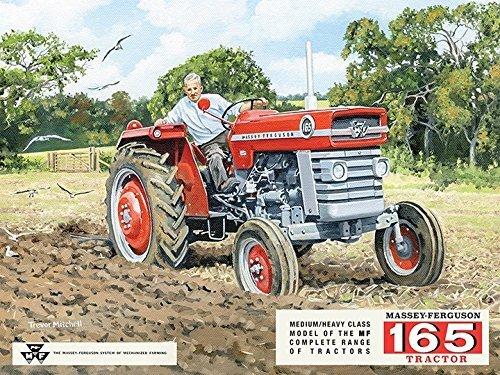 Massey - Ferguson 165 tractor Rojo Agricultor arado campo. Medio pesado clase Pintado anuncio Ideal para casa, hogar, cocina, gargage, tienda o vertiente o pub. Metal/Cartel De Acero Para Pared - 30 x 40 cm