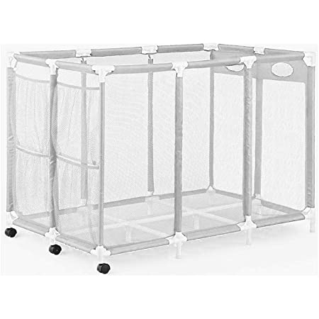 """Essentially Yours Pool Noodles Holder, Toys, Floats, Balls and Floats Equipment Mesh Rolling Storage Organizer Bin, 50""""x 32""""x 36"""" , XXL, White Mesh / White PVC"""