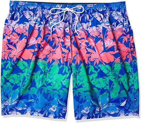 Nautica Men's Big & Tall 8' Tropical Print Swim Shorts Baador para Hombre, Bright Blue, XXXXL