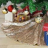 QueenDream Mini Tree Skirt Small Christmas Tree Skirt 24 inch Champagne Gold Xmas Tree Skirt for Merry Christmas Decorations